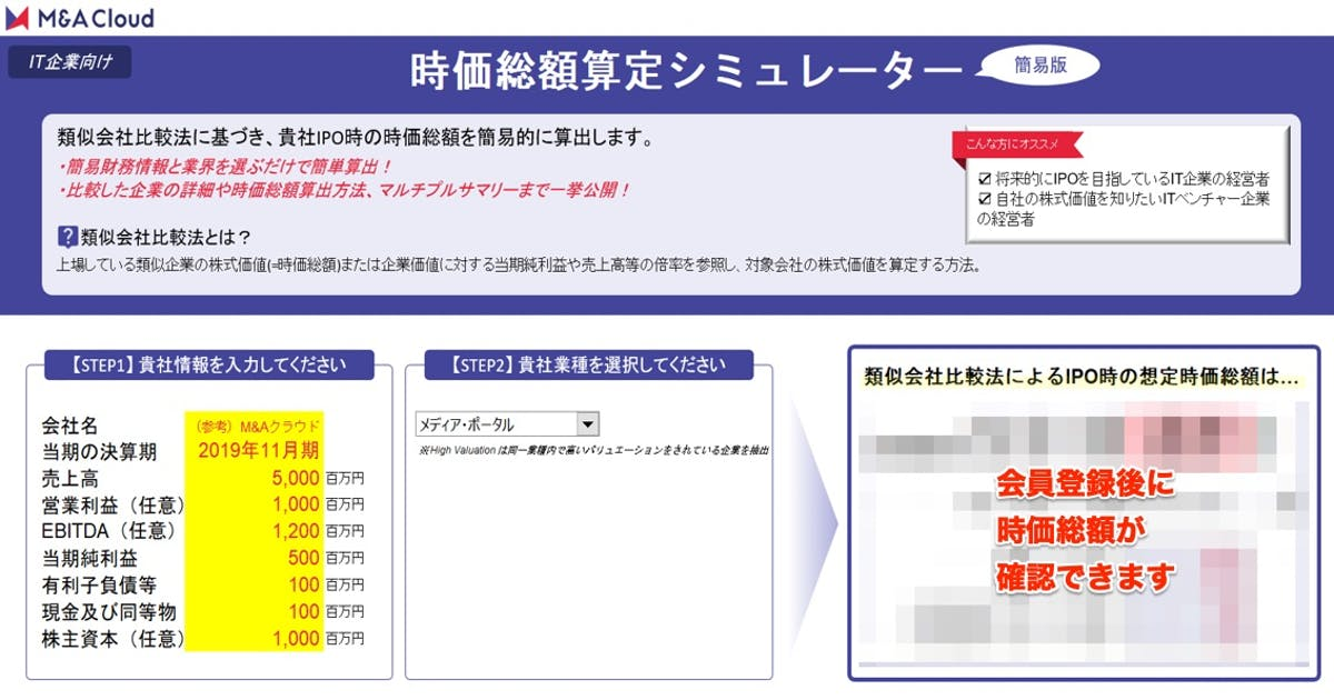 時価総額算定シミュレーター【IT企業編】