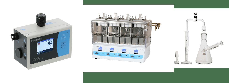 柴田科学の製品群(左から、粉じん測定機、化学合成・反応装置、理化学用ガラス機器)