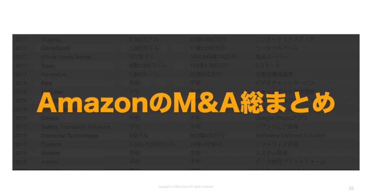 【会員登録不要】Amazon.comのM&A総まとめシート