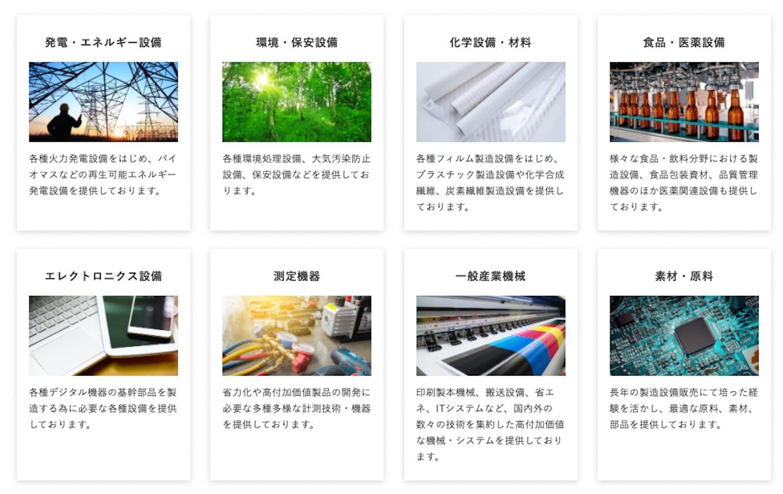 機械総合商社として、多様な業界に機械設備や機器、付帯製品、サービスを提供